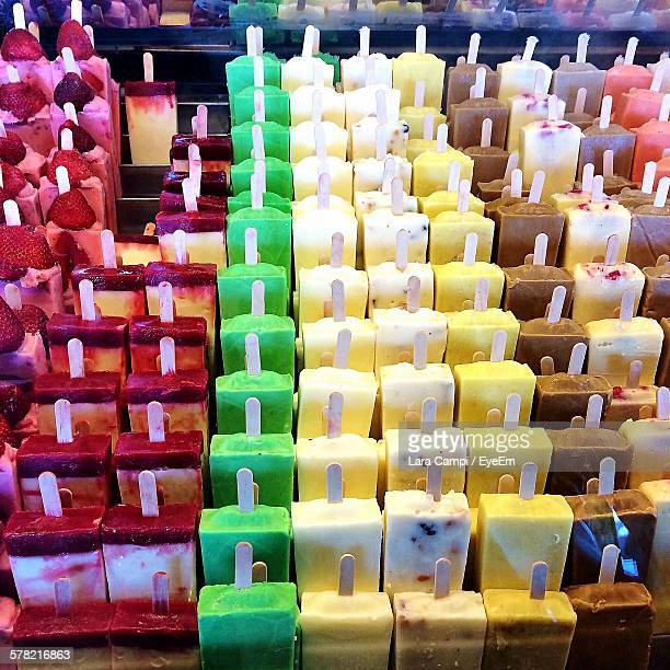 High Angle View Of Colorful Popsicles In Store For Sale