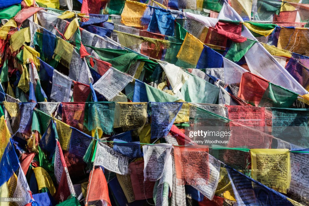 High angle view of colorful prayer flags : Foto stock