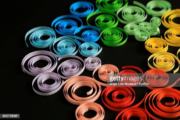 High Angle View Of Colorful Ribbon On Black Background