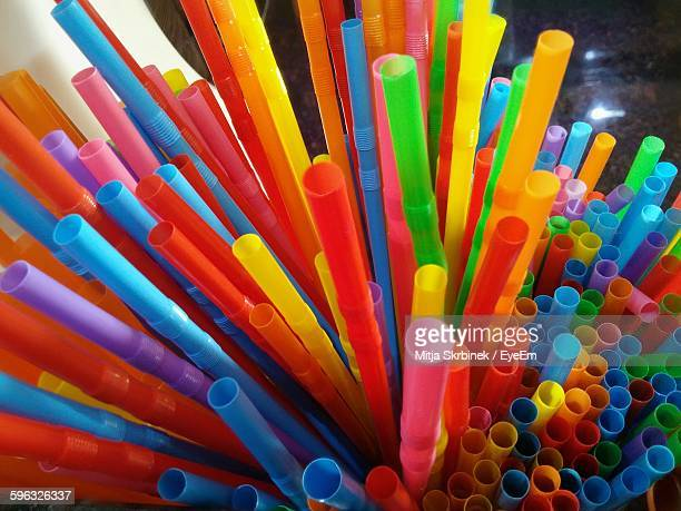 High Angle View Of Colorful Straws