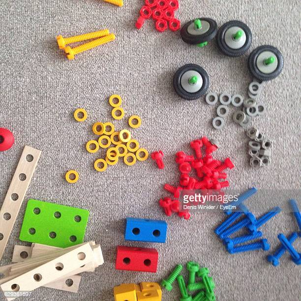 High Angle View Of Colorful Toys On Carpet