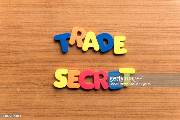 High Angle View Of Colorful Trade Secret Text On Wooden Table