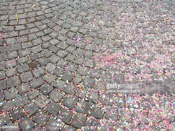 High Angle View Of Confetti On Cobbled Street