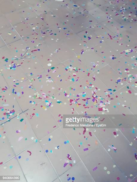 High Angle View Of Confetti On Floor