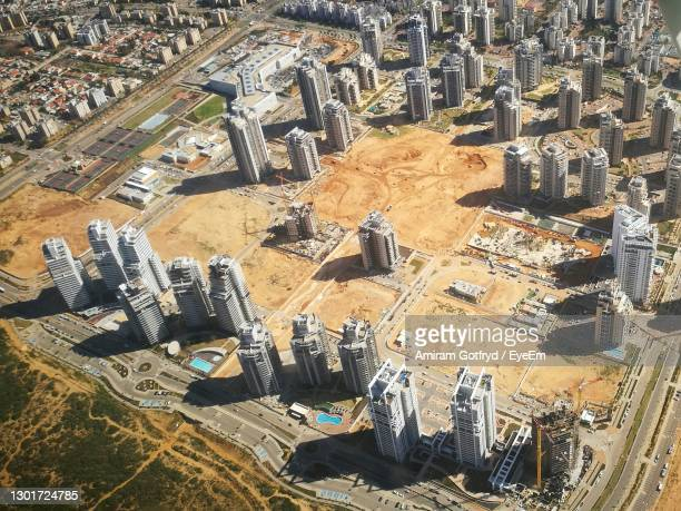 high angle view of construction site in city - netanya stock pictures, royalty-free photos & images