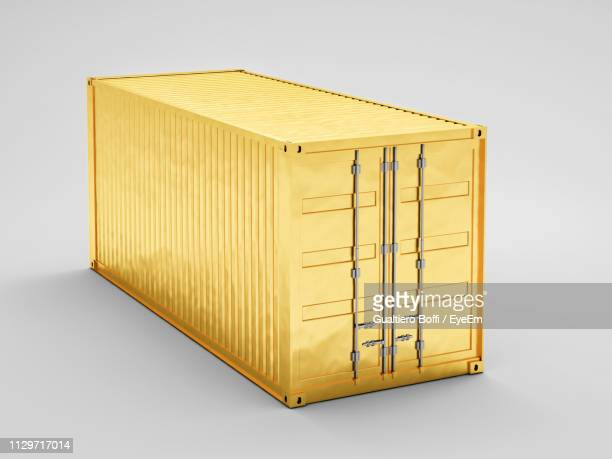 high angle view of container against white background - cargo container stock pictures, royalty-free photos & images