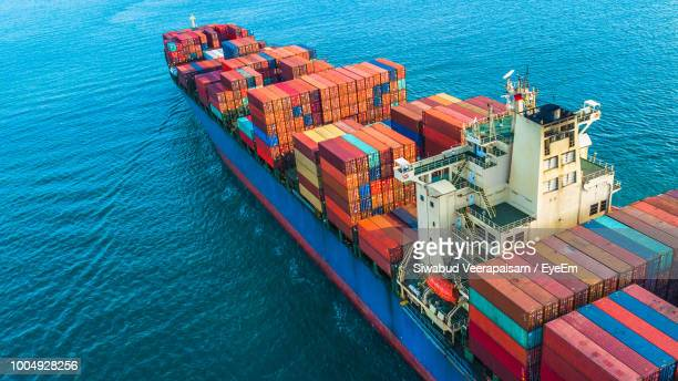 high angle view of container ship at commercial dock - cargo ship stock pictures, royalty-free photos & images