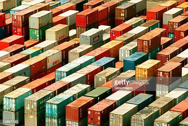 High angle view of containers at a dock, Hong Kong, China