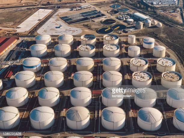 high angle view of containers in factory - bortes imagens e fotografias de stock