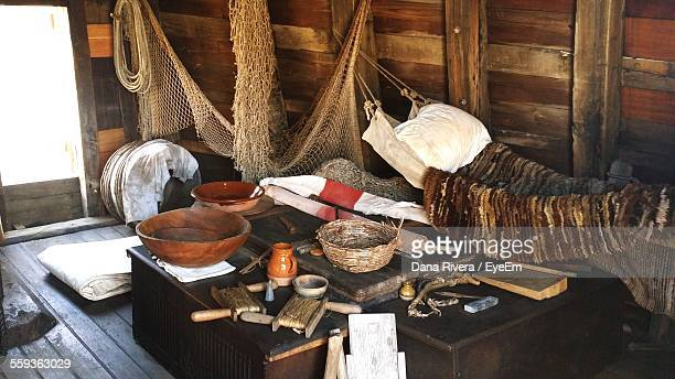 high angle view of containers with jar and basket on table in mayflower ii - the mayflower stock photos and pictures
