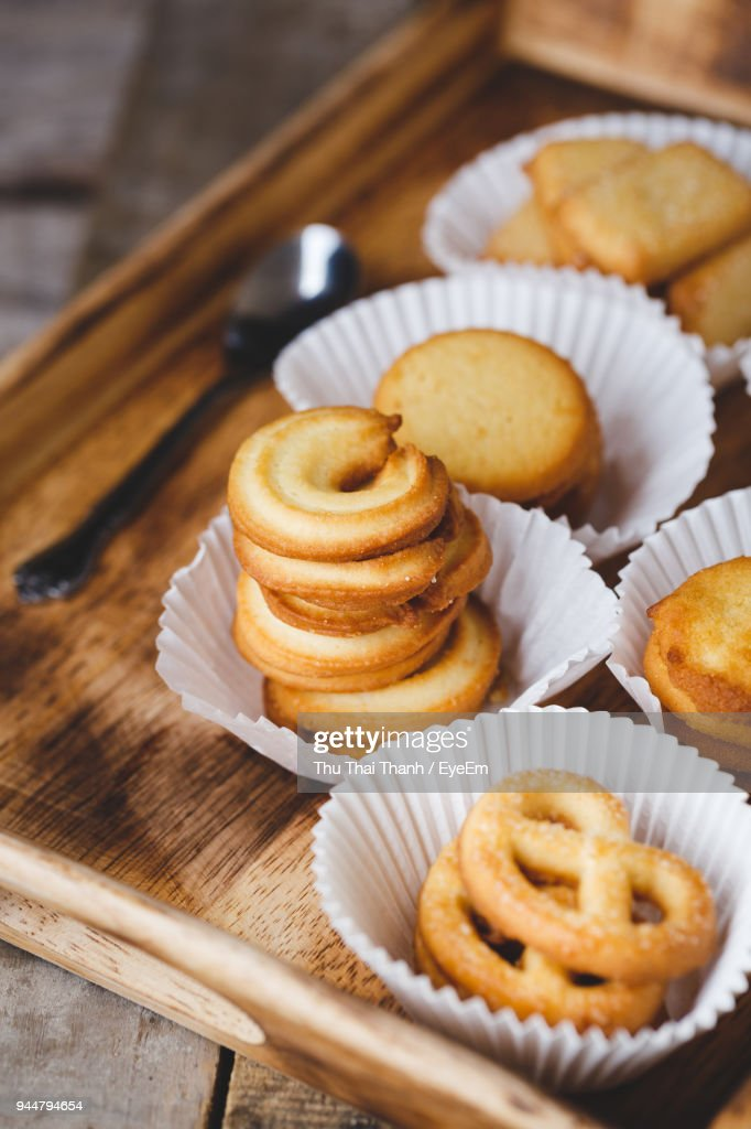 High Angle View Of Cookies In Tray On Table : Stock Photo