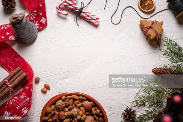 high angle view of cookies on table - december stock pictures, royalty-free photos & images