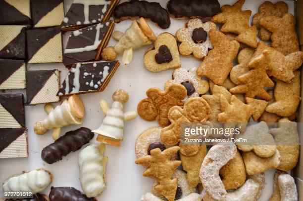 high angle view of cookies - zuzana janekova stock pictures, royalty-free photos & images