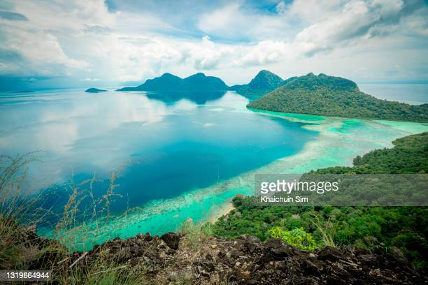 high angle view of corals reef along the island - coral sea stock pictures, royalty-free photos & images