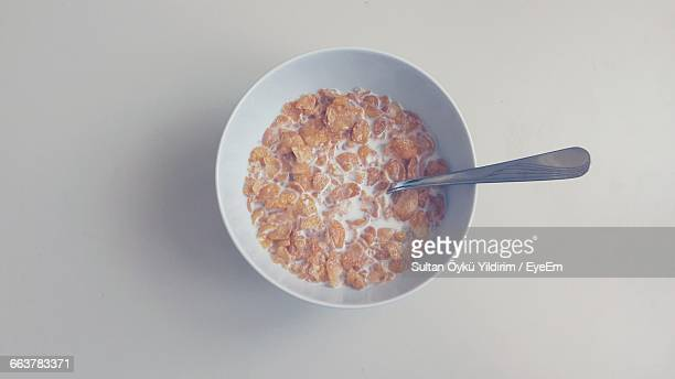 High Angle View Of Corn Flakes In Bowl On Table