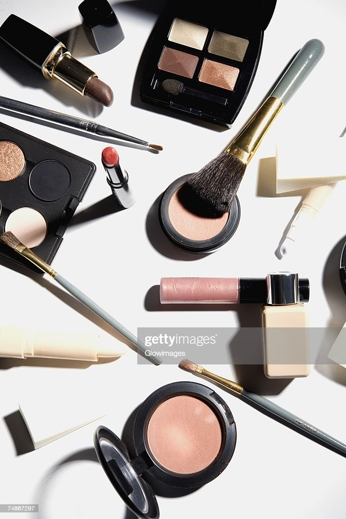 High angle view of cosmetics : Stock Photo