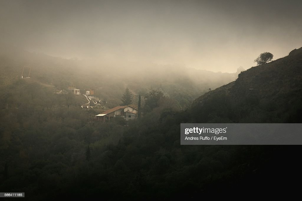 High Angle View Of Cosquin On Foggy Day : Stock Photo