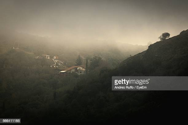 high angle view of cosquin on foggy day - andres ruffo stock pictures, royalty-free photos & images
