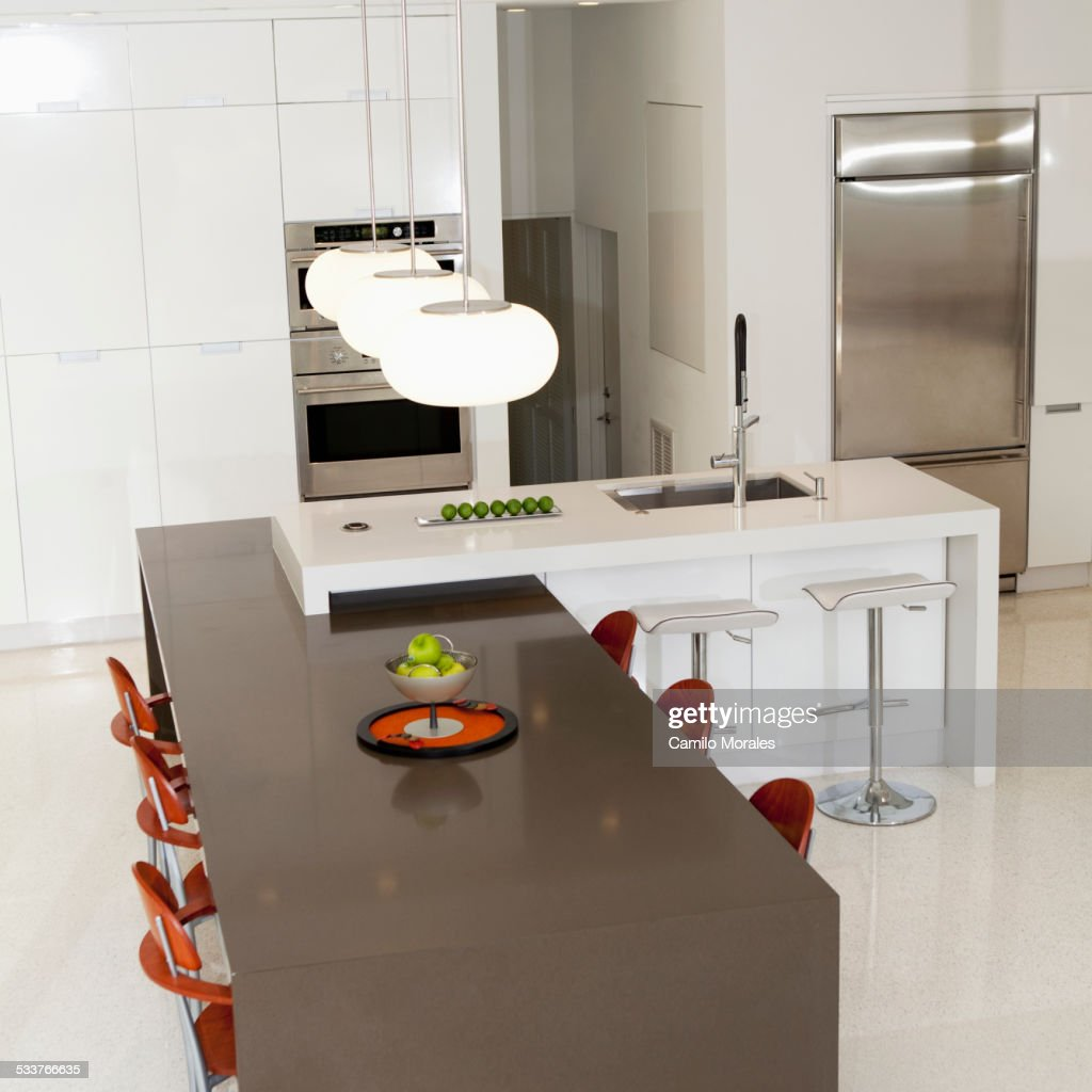 High angle view of counters in modern kitchen : Foto stock
