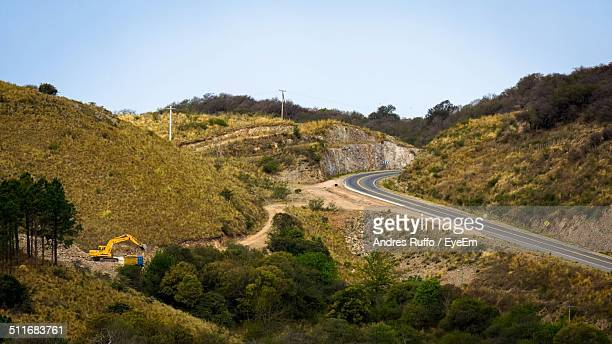 high angle view of country roads along landscape - andres ruffo stockfoto's en -beelden
