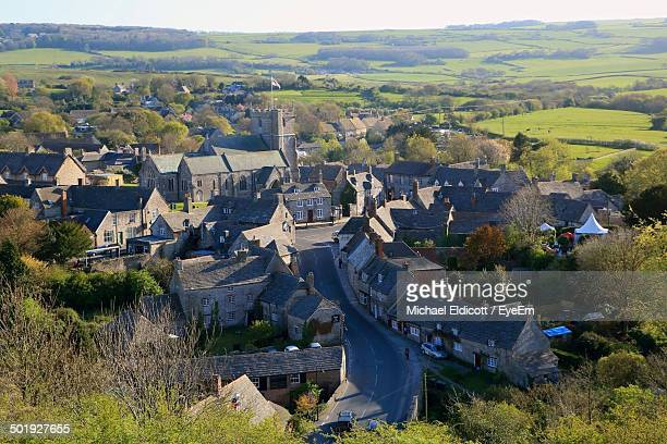 high angle view of countryside houses on landscape - プール市 ストックフォトと画像