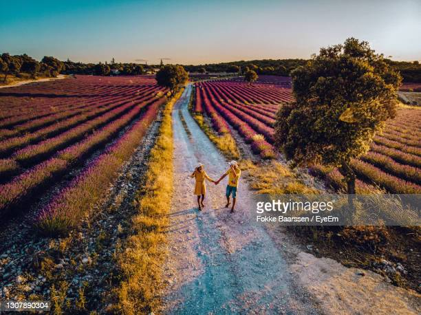 high angle view of couple walking on field against sky - mid adult stock pictures, royalty-free photos & images