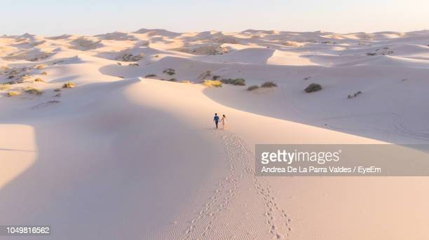 high angle view of couple walking on sand at desert against sky - chihuahua desert stock pictures, royalty-free photos & images