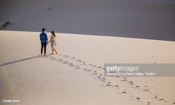 high angle view of couple walking on sand at desert - chihuahua desert stock pictures, royalty-free photos & images