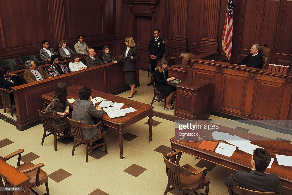 High angle view of courtroom : Stock Photo