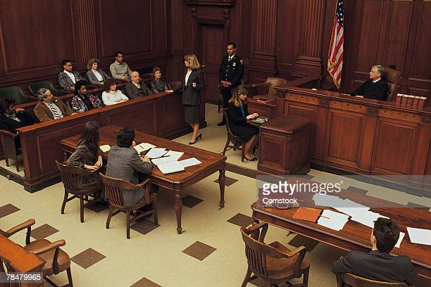 high angle view of courtroom - juror law stock pictures, royalty-free photos & images