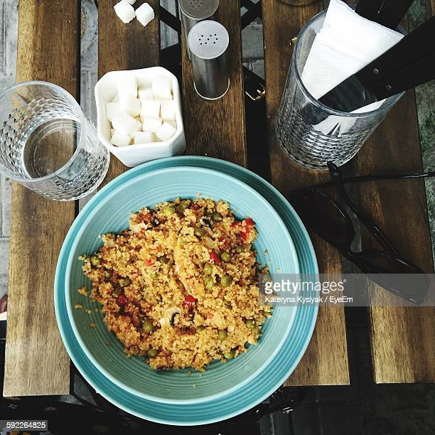 High Angle View Of Couscous Served In Bowl On Table