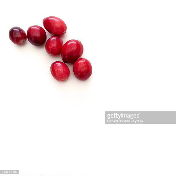 High Angle View Of Cranberries On White Background