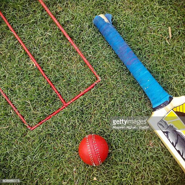 High Angle View Of Cricket Bat And Ball On Grass