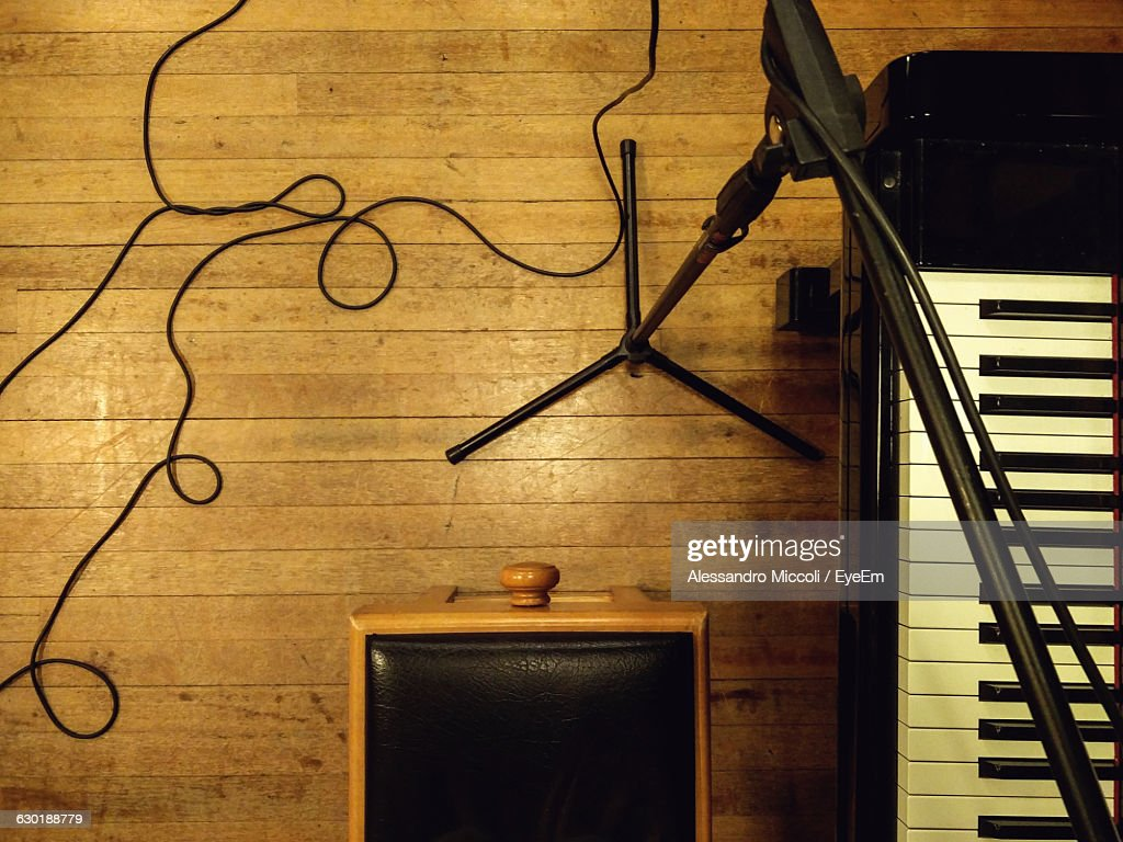 High Angle View Of Cropped Piano : Stock Photo