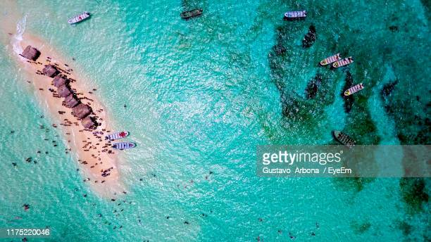 high angle view of crowd at beach - dominica stock pictures, royalty-free photos & images