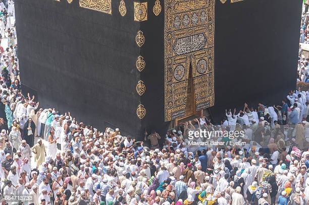 high angle view of crowd at masjid al-haram - al haram mosque stock photos and pictures