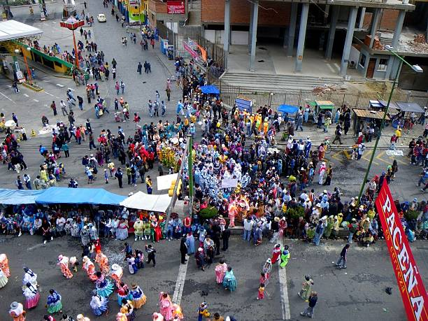 High angle view of crowd celebrating at Pacena parade