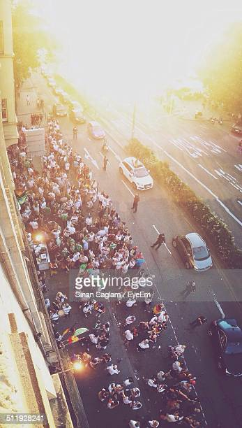 High angle view of crowd gathered on street during football match