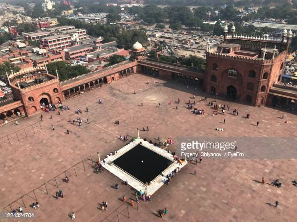 high angle view of crowd in city - jama masjid delhi stock pictures, royalty-free photos & images