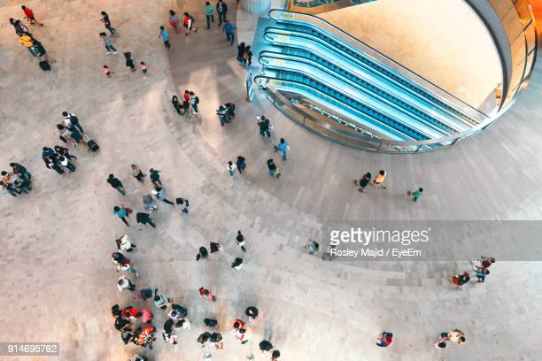 high angle view of crowd in city - shopping mall stock pictures, royalty-free photos & images