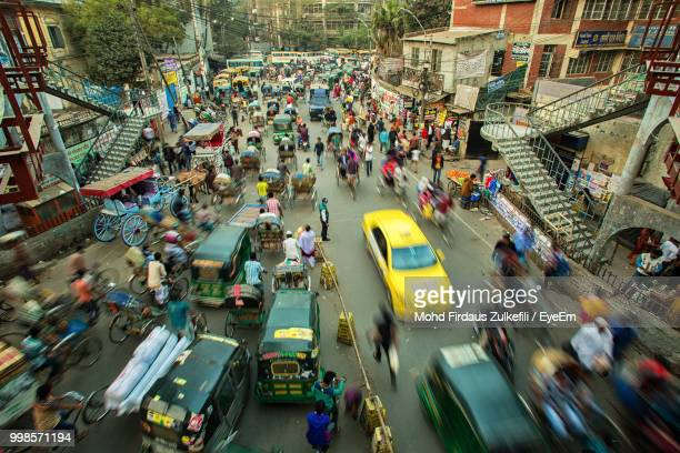 high angle view of crowd on city street - bangladesh stock pictures, royalty-free photos & images