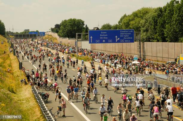 high angle view of crowd on road against sky - ruhr stock pictures, royalty-free photos & images