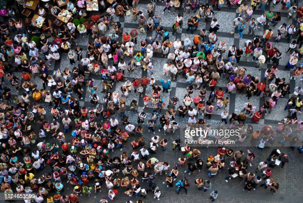 high angle view of crowd on street - florin seitan stock pictures, royalty-free photos & images