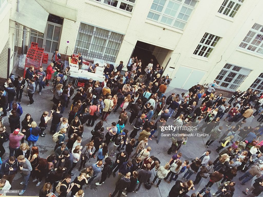 High Angle View Of Crowd On Street : Stock Photo