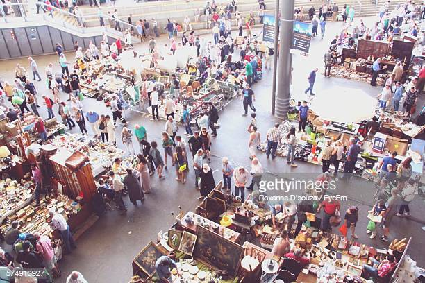 High Angle View Of Crowd Shopping In City Market