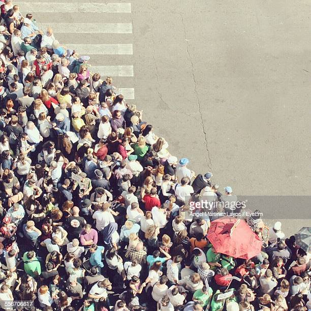 high angle view of crowd waiting at crosswalk to cross road - large group of people stock pictures, royalty-free photos & images