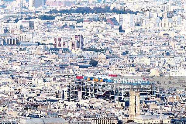 high angle view of crowded cityscape - centre georges pompidou stock pictures, royalty-free photos & images