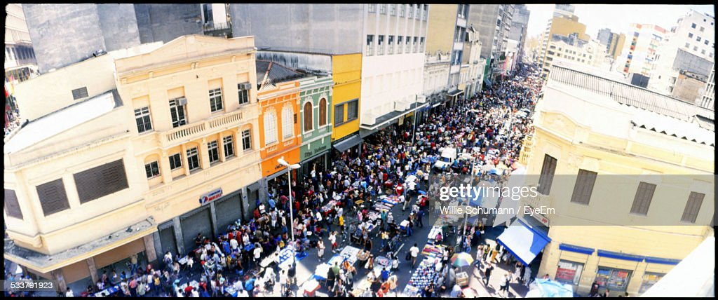 High Angle View Of Crowded Street : Foto stock