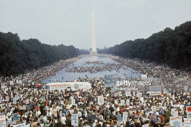 High angle view of crowds gathered on Washington Mall during the Poor People's March on Washington DC 1968