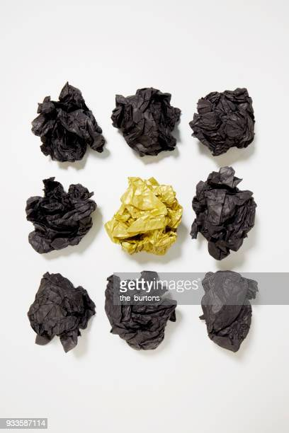High angle view of crumpled paper balls